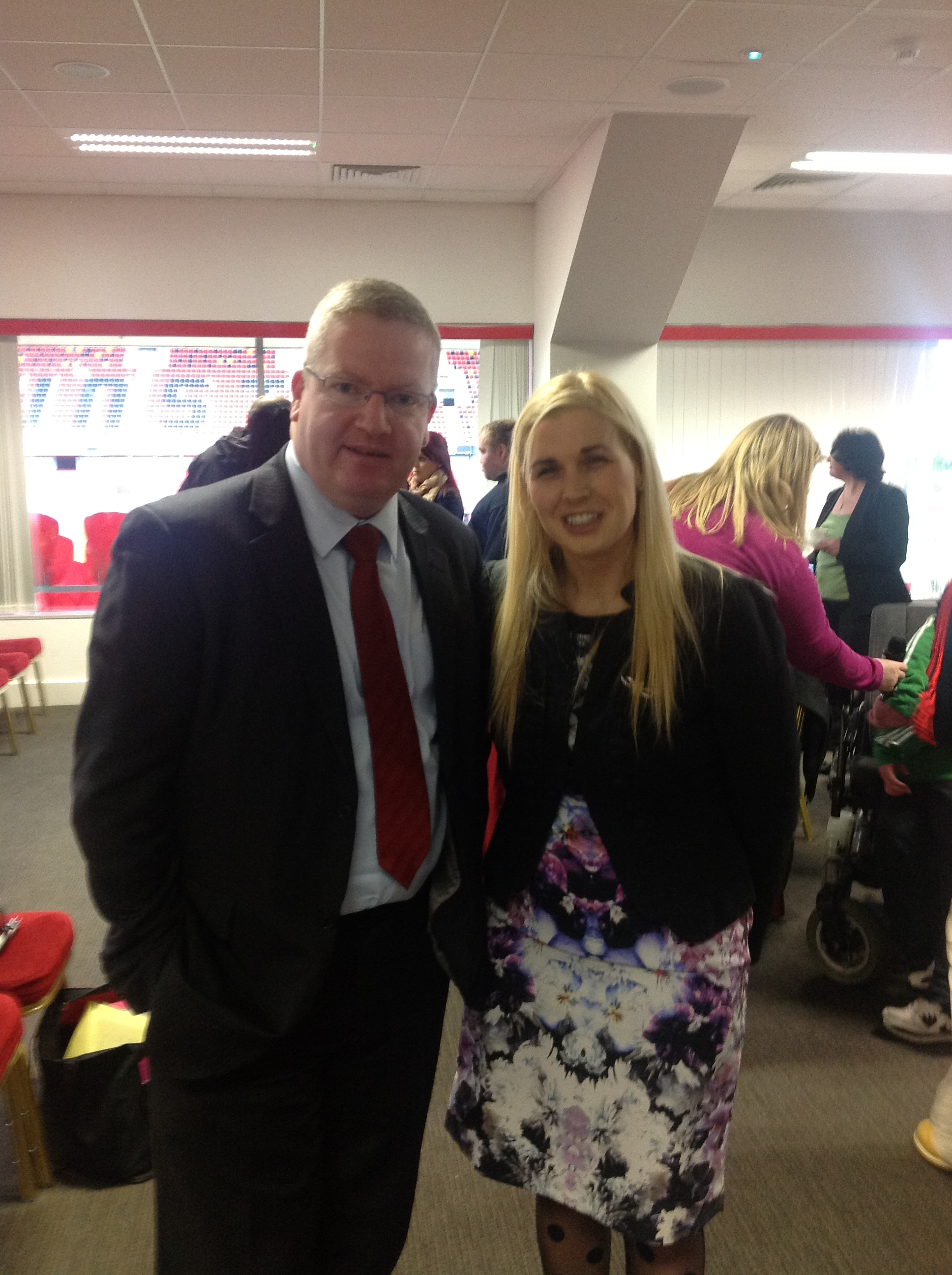 Sinead Kane and Dr. Fergal Barry at the Better Options event at Thomond Park, Limerick