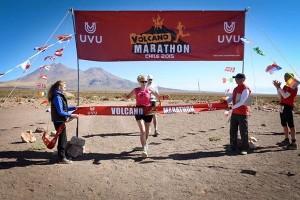 Sinead Finish line Volcano marathon